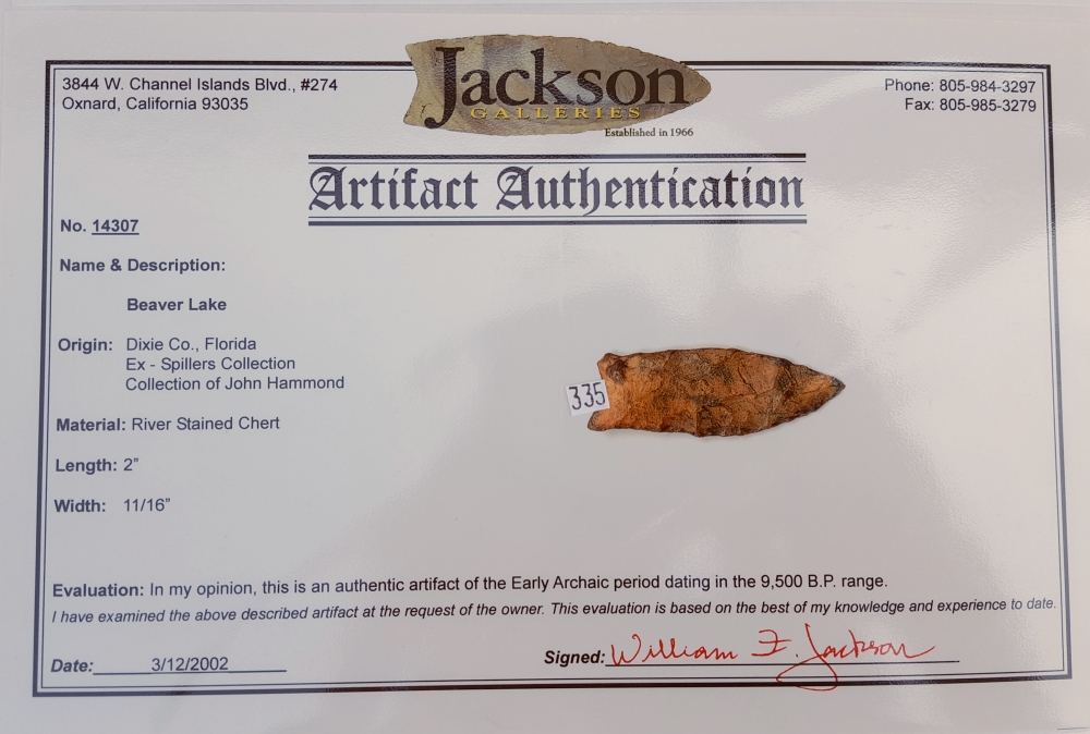 Fl. Beaver Lake type arrowhead with COA | Fossils & Artifacts for Sale | Paleo Enterprises | Fossils & Artifacts for Sale