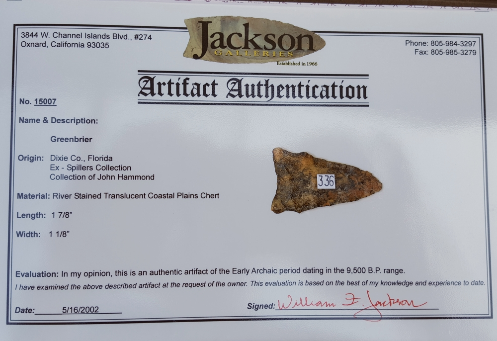 Fl. Osceola-Greenbriar type arrowhead w/COA! | Fossils & Artifacts for Sale | Paleo Enterprises | Fossils & Artifacts for Sale