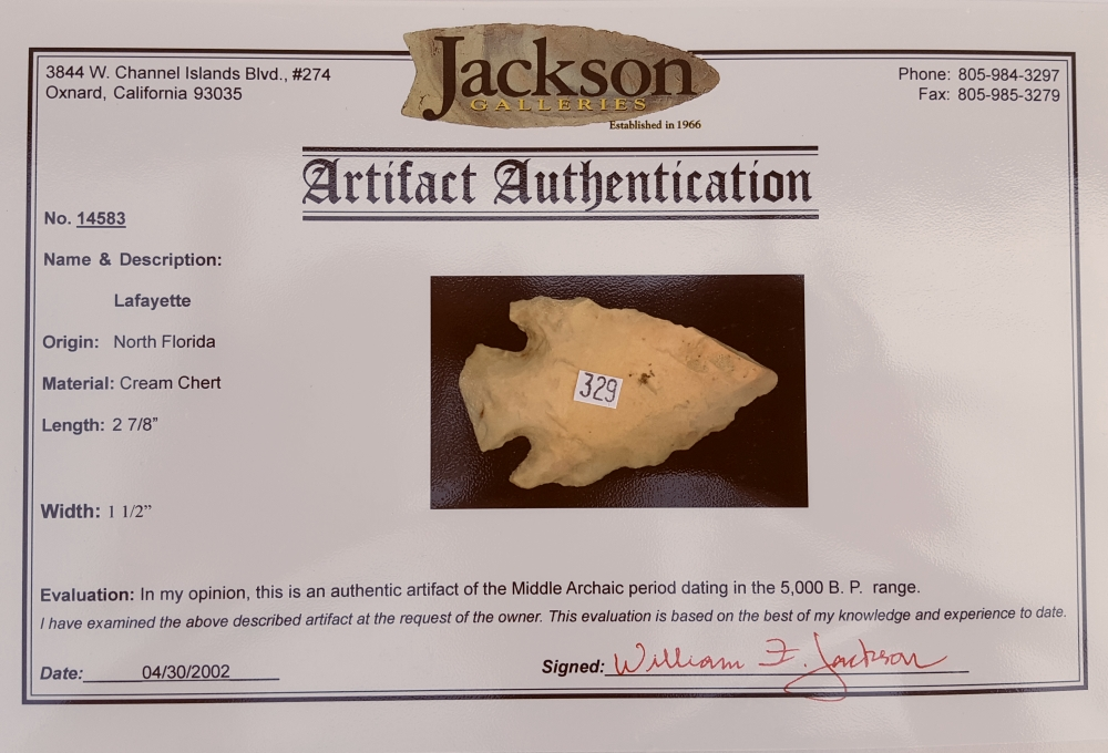 Fl. Lafayette type arrowhead with COA | Fossils & Artifacts for Sale | Paleo Enterprises | Fossils & Artifacts for Sale