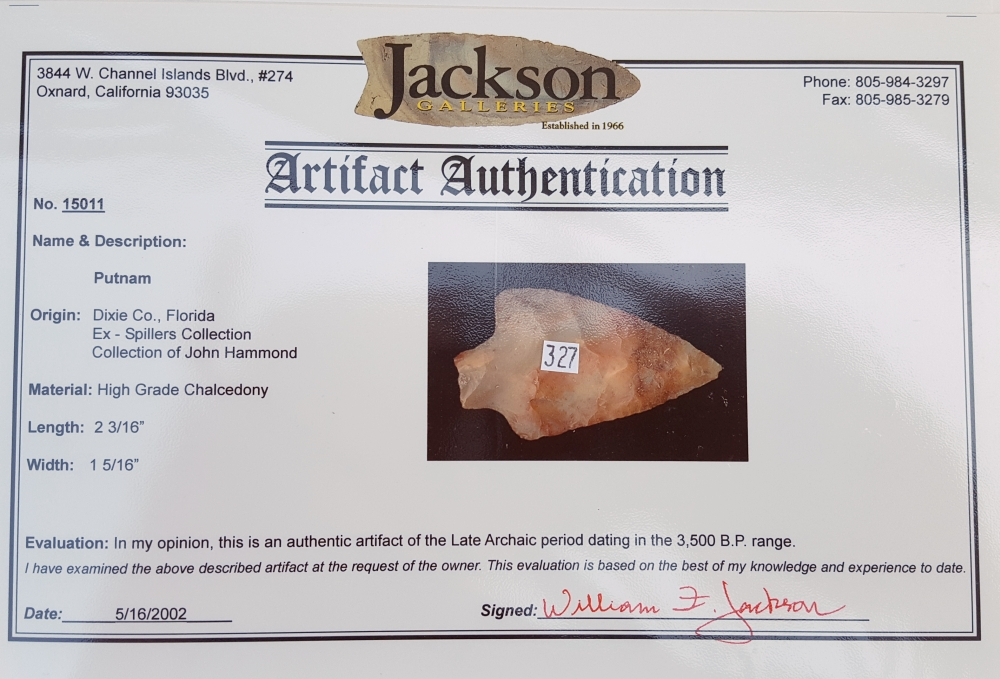 Fl. Putnam type arrowhead, TRANSLUCENT CHALCEDONY W/COA! | Fossils & Artifacts for Sale | Paleo Enterprises | Fossils & Artifacts for Sale