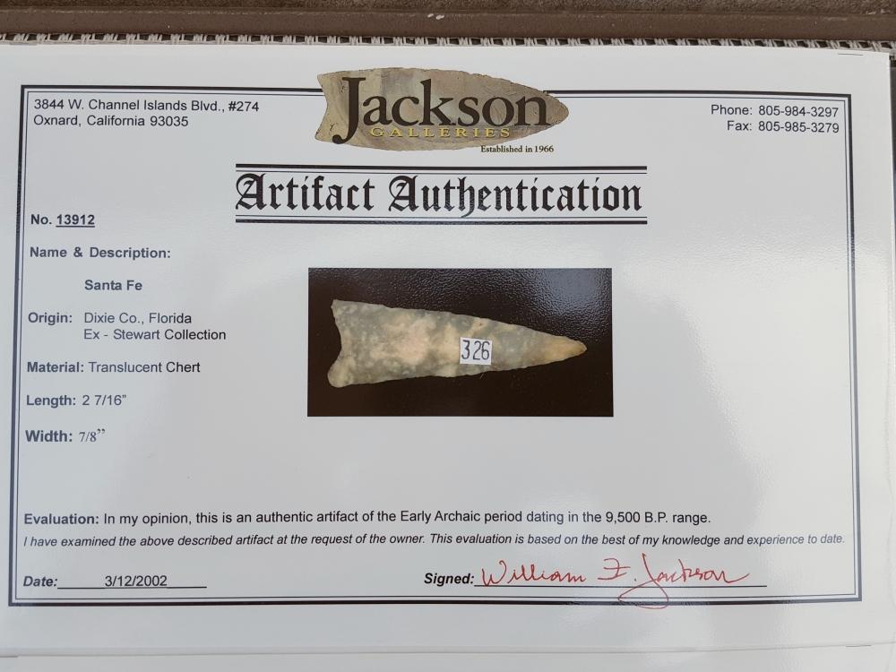 Fl. Santa Fe type arrowhead, FINE QUARTZITE! | Fossils & Artifacts for Sale | Paleo Enterprises | Fossils & Artifacts for Sale