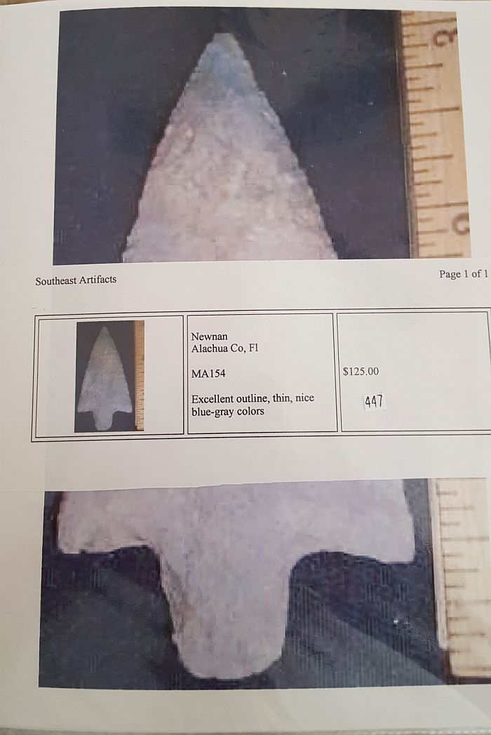 Fl. Newnan type arrowhead | Fossils & Artifacts for Sale | Paleo Enterprises | Fossils & Artifacts for Sale