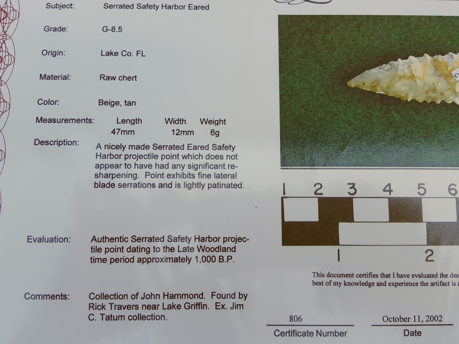 Fl. Safety Harbor type arrowhead w/COA! | Fossils & Artifacts for Sale | Paleo Enterprises | Fossils & Artifacts for Sale