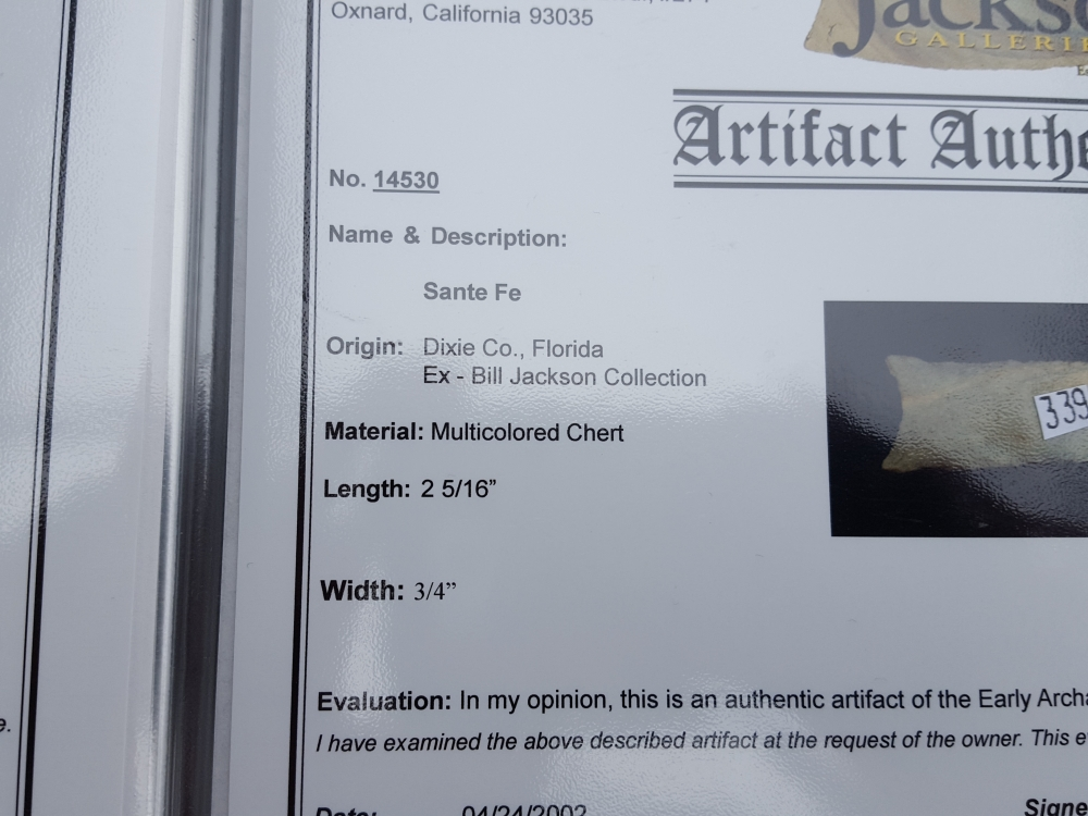 Fl. Santa Fe type arrowhead, RARE with COA! | Fossils & Artifacts for Sale | Paleo Enterprises | Fossils & Artifacts for Sale