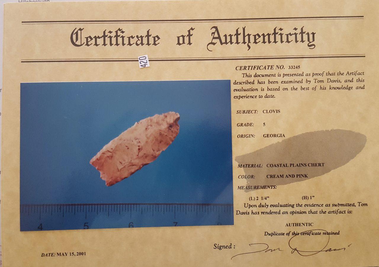 Georgia Clovis type Arrowhead w/COA! | Fossils & Artifacts for Sale | Paleo Enterprises | Fossils & Artifacts for Sale