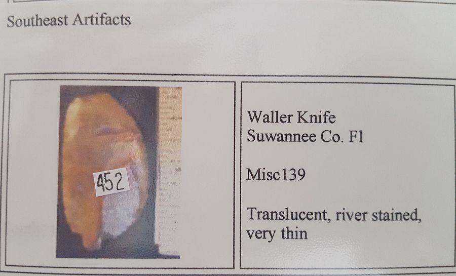 Fl. Waller knife, Translucent! | Fossils & Artifacts for Sale | Paleo Enterprises | Fossils & Artifacts for Sale