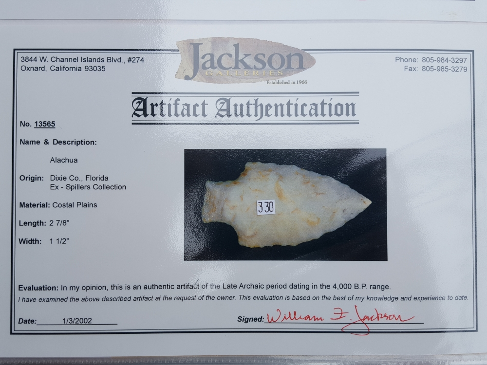 Fl. Alachua type arrowhead with COA! | Fossils & Artifacts for Sale | Paleo Enterprises | Fossils & Artifacts for Sale