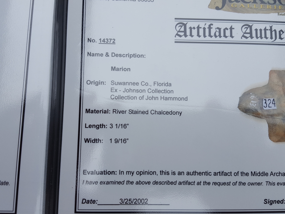 Fl. Marion type arrowhead, COLORFUL w/COA! | Fossils & Artifacts for Sale | Paleo Enterprises | Fossils & Artifacts for Sale