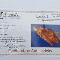 Fl. Newnan type arrowhead w/COA. | Fossils & Artifacts for Sale | Paleo Enterprises | Fossils & Artifacts for Sale