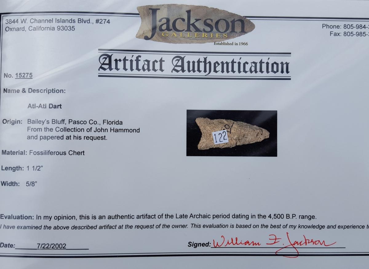 Fl. Atlatl dart w/COA | Fossils & Artifacts for Sale | Paleo Enterprises | Fossils & Artifacts for Sale