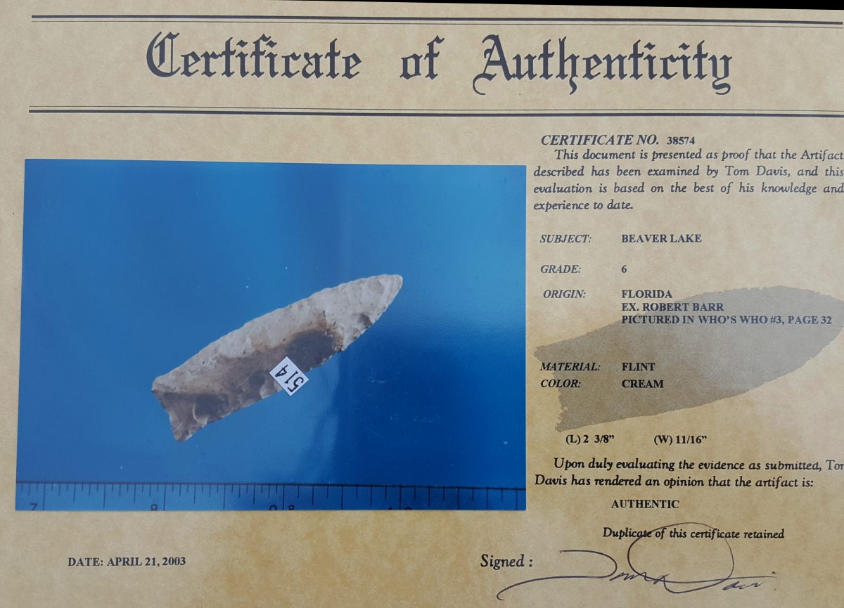Fl. Beaver Lake type arrowhead w/COA! | Fossils & Artifacts for Sale | Paleo Enterprises | Fossils & Artifacts for Sale