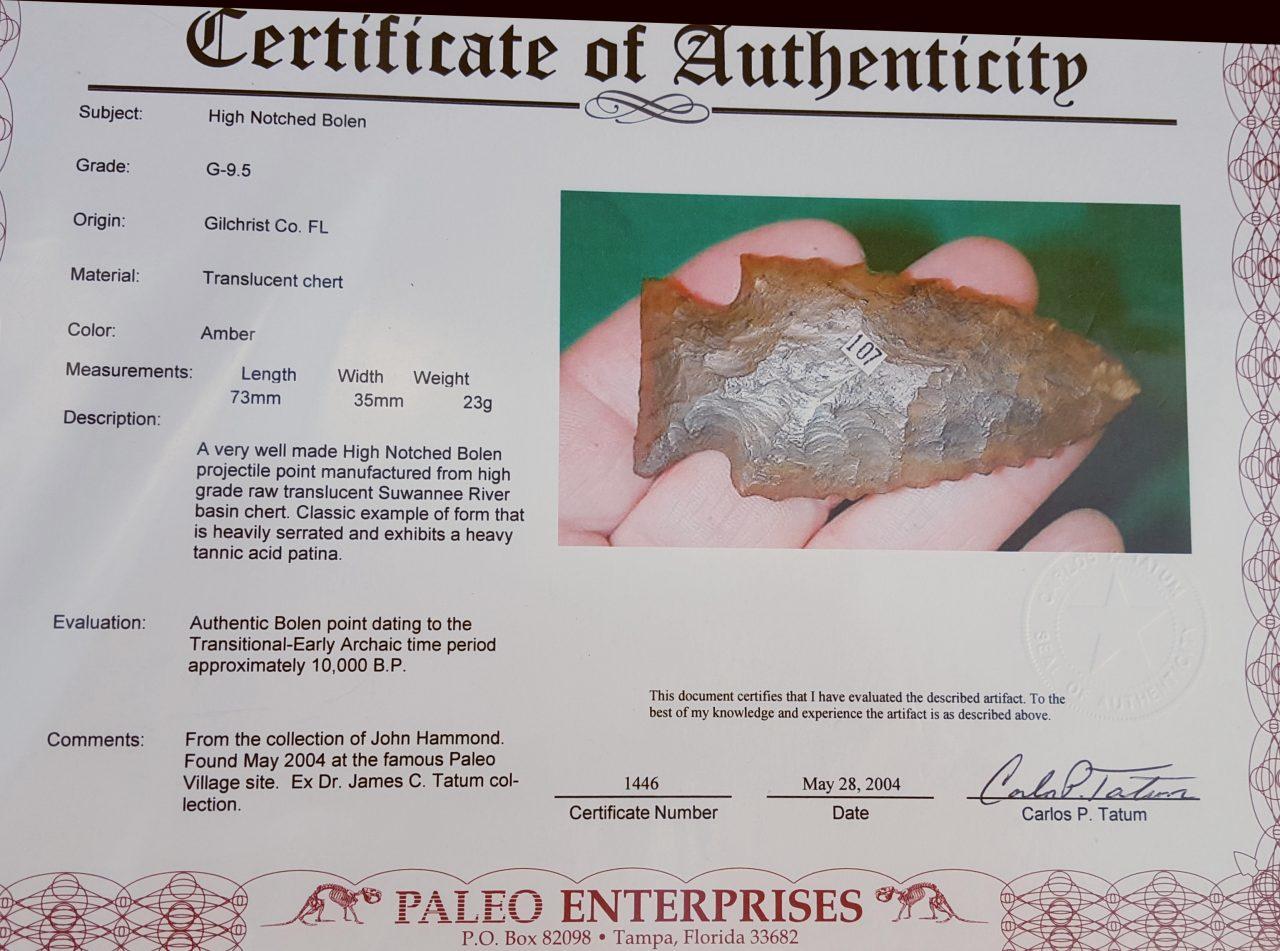 Fl. Bolen High Notch type arrowhead, TRANSLUCENT G9.5! | Fossils & Artifacts for Sale | Paleo Enterprises | Fossils & Artifacts for Sale