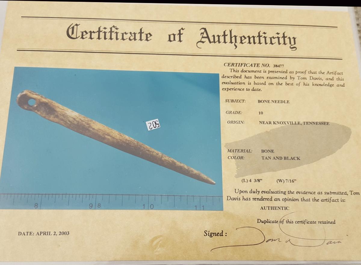 Ancient bone needle, Mississippian Period w/COA. | Fossils & Artifacts for Sale | Paleo Enterprises | Fossils & Artifacts for Sale