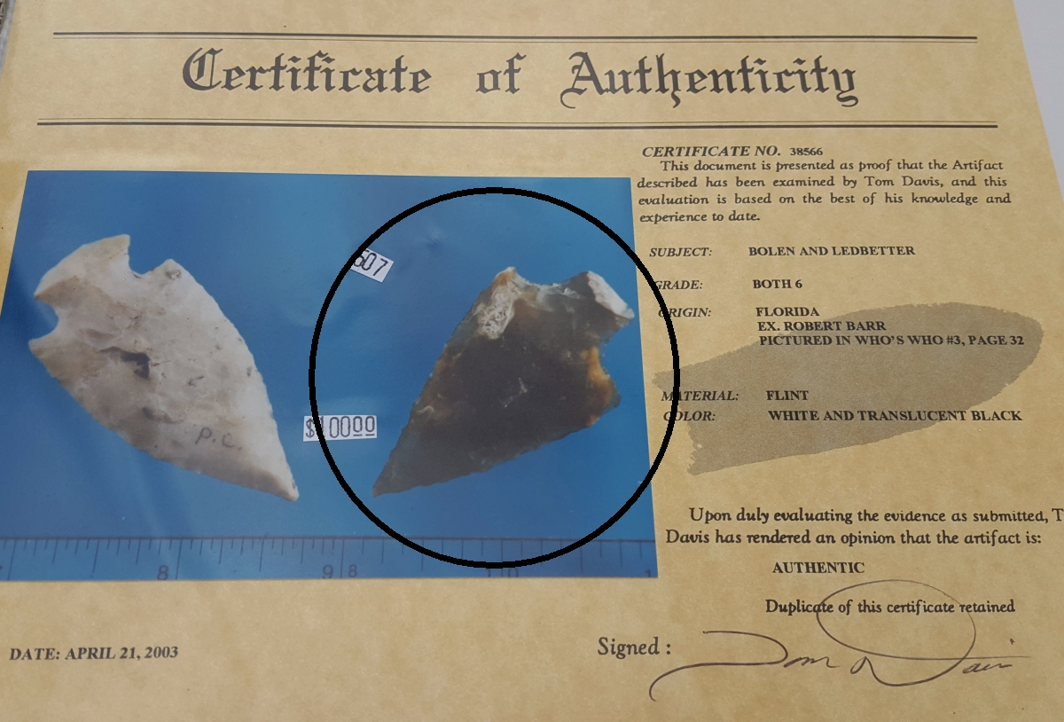 Fl. Ledbetter type arrowhead with COA. | Fossils & Artifacts for Sale | Paleo Enterprises | Fossils & Artifacts for Sale
