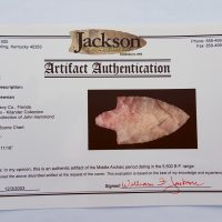 Fl. Newnan type arrowhead, CORAL w/COA. | Fossils & Artifacts for Sale | Paleo Enterprises | Fossils & Artifacts for Sale