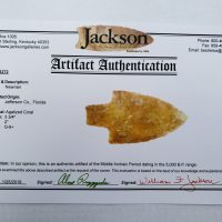 Fl. Newnan type point, CORAL w/COA! | Fossils & Artifacts for Sale | Paleo Enterprises | Fossils & Artifacts for Sale