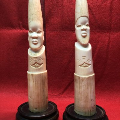 Vintage Carved Bone / Ivory Pair
