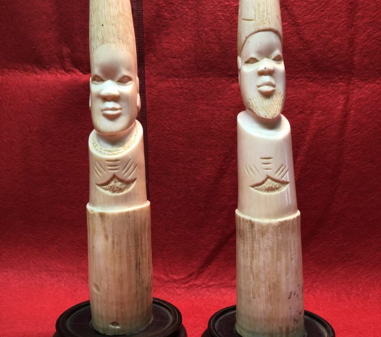 Vintage Carved Bone / Ivory Pair | Fossils & Artifacts for Sale | Paleo Enterprises | Fossils & Artifacts for Sale