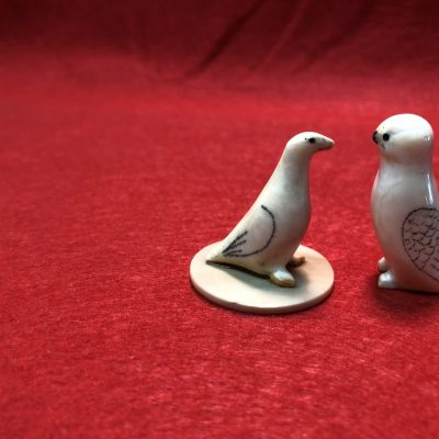 Vintage Carved Bone / Ivory Carved Birds Alaska