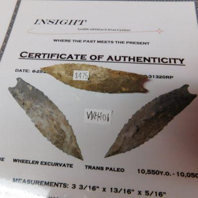 Wheeler Paleo Artifact COA