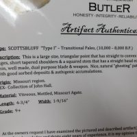 SCOTTSBLUFF Type 1 COA | Fossils & Artifacts for Sale | Paleo Enterprises | Fossils & Artifacts for Sale